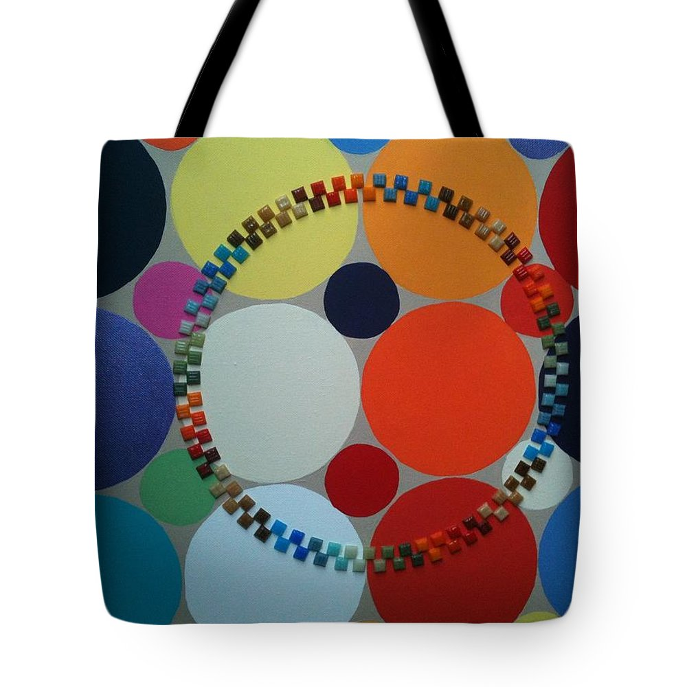 Circles Tote Bag featuring the painting Stonehenge by Gay Dallek