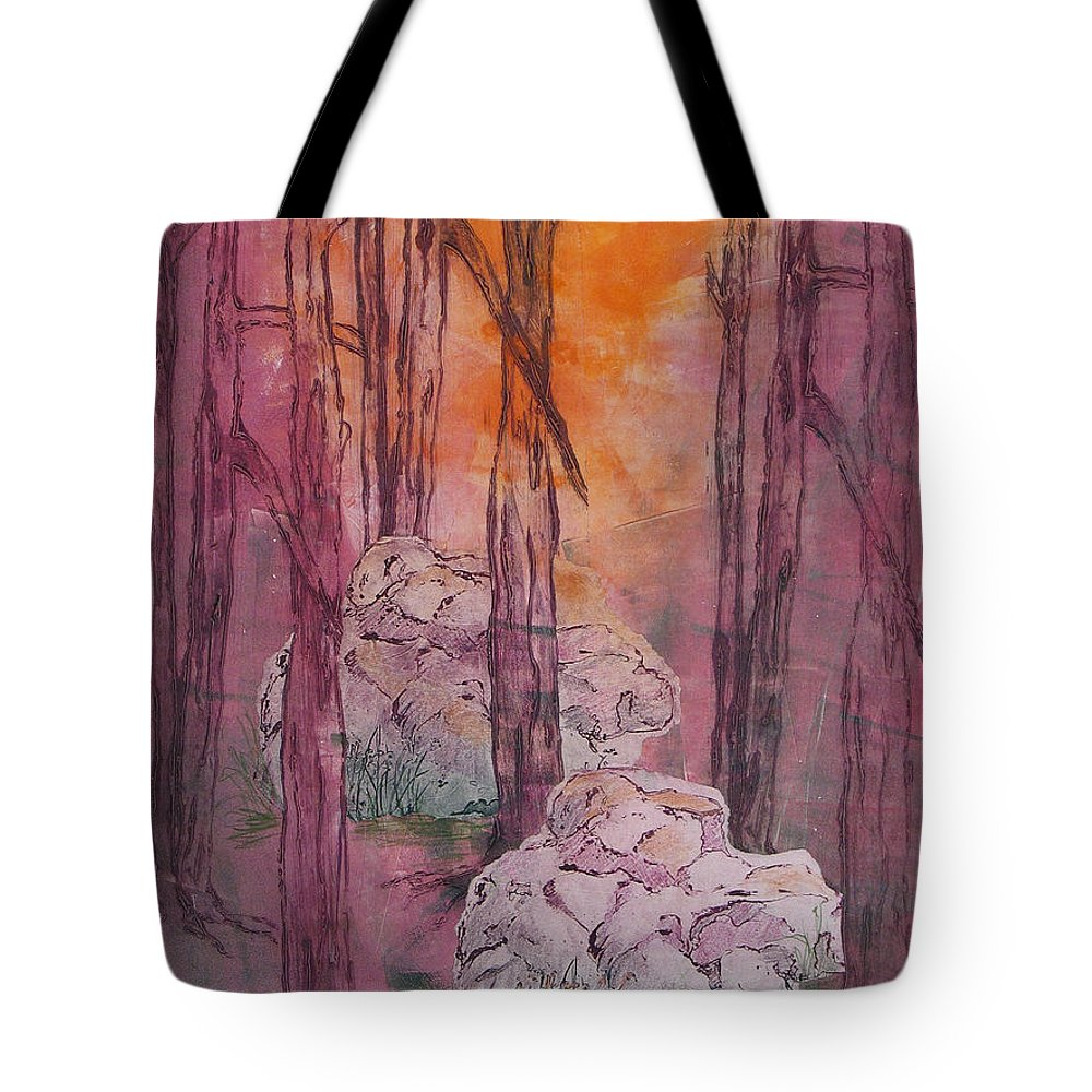 Mixed Media Tote Bag featuring the painting Stones Cry Out by Pam Smyth