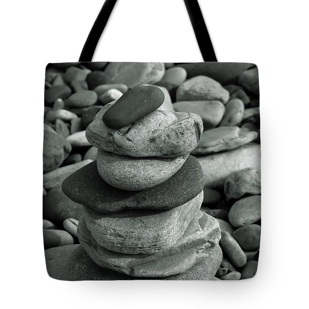Stones Pebbles Column Stack Beach Natural Grey Shades Shapes Form Monochrome Light Dark Tote Bag featuring the photograph Stones Still Life Monochrome by Jeff Townsend