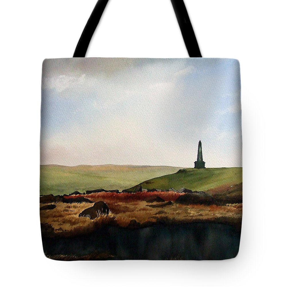 Landscape Tote Bag featuring the painting Stoodley Pike by Paul Dene Marlor