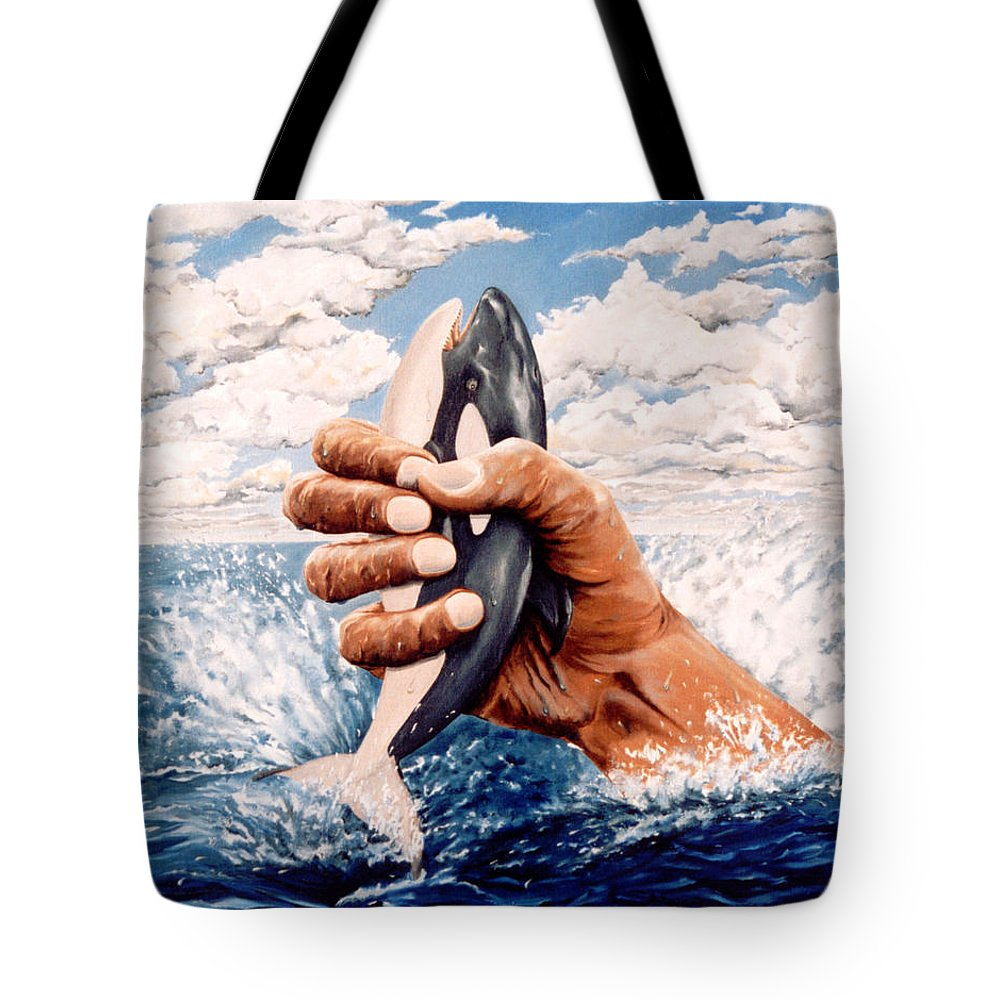 Surreal Tote Bag featuring the painting Stop Whaling by Mark Cawood