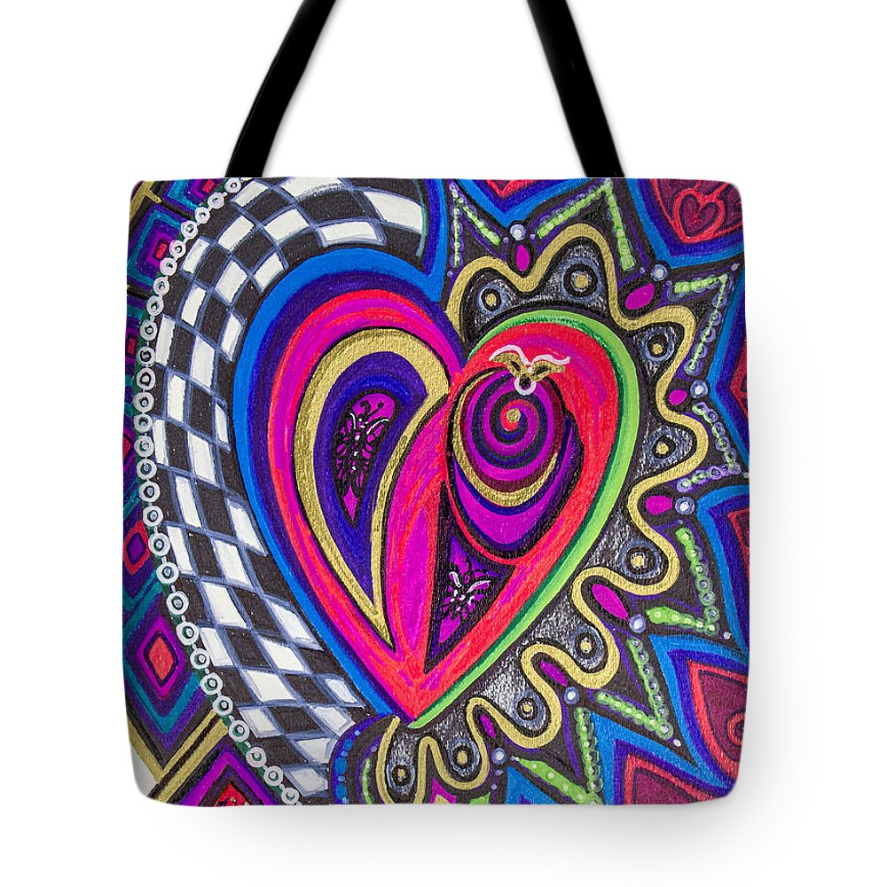 Heart Tote Bag featuring the painting Stored Deep Inside by Laurel Rosenberg