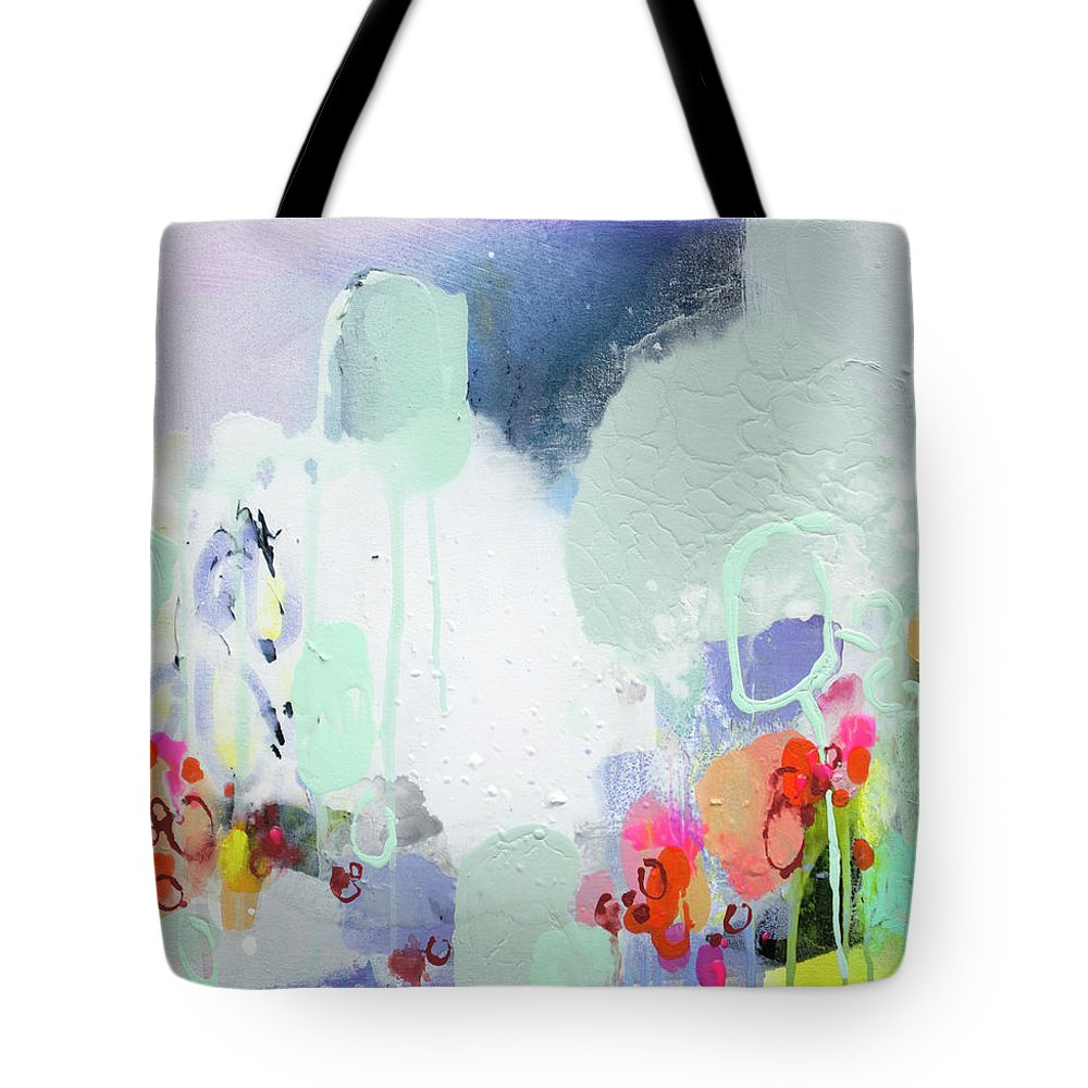 Abstract Tote Bag featuring the painting Stories by Claire Desjardins