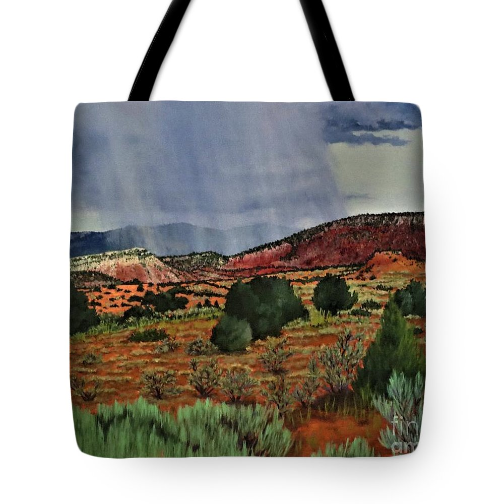 Storm Tote Bag featuring the painting Storm Approaching The Ridge by Beverly Theriault
