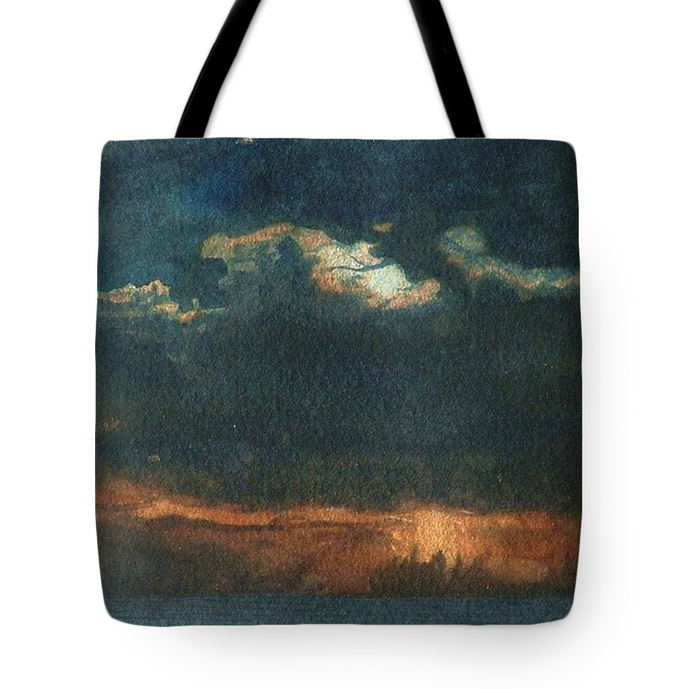 Landscape Tote Bag featuring the painting Storm Brewing by Lynn ACourt