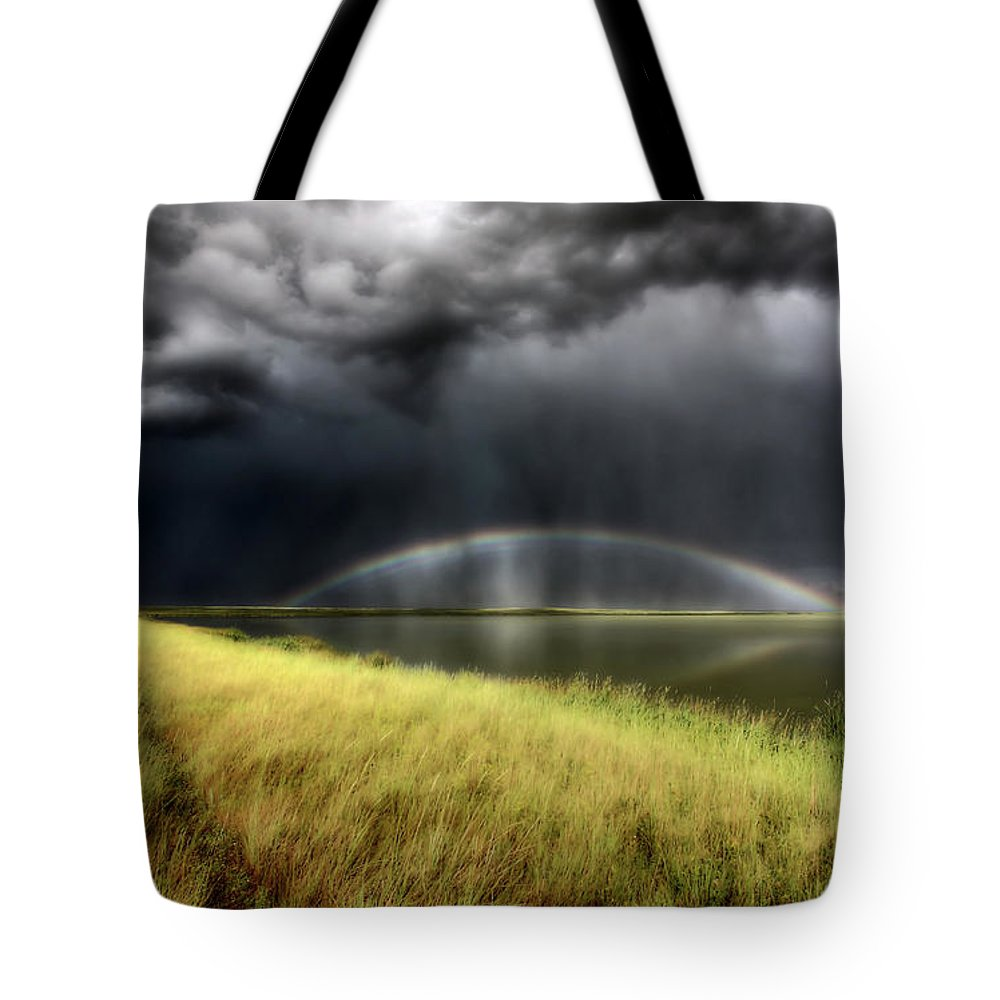 Storm Tote Bag featuring the digital art Storm Clouds And Rainbow Over Chaplin Lake Marshes by Mark Duffy