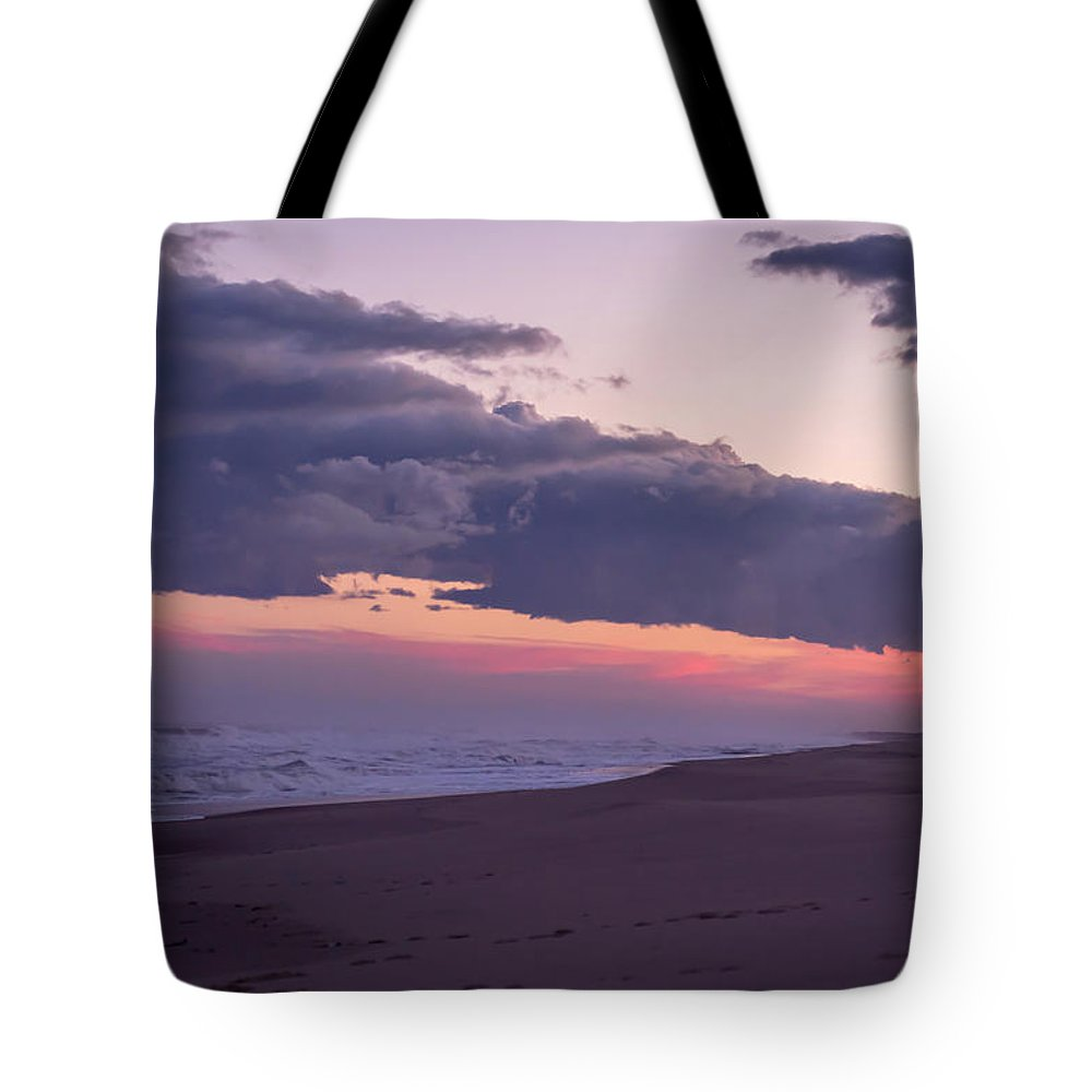 Terry D Photography Tote Bag featuring the photograph Storm Clouds At Dusk Seaside Nj by Terry DeLuco