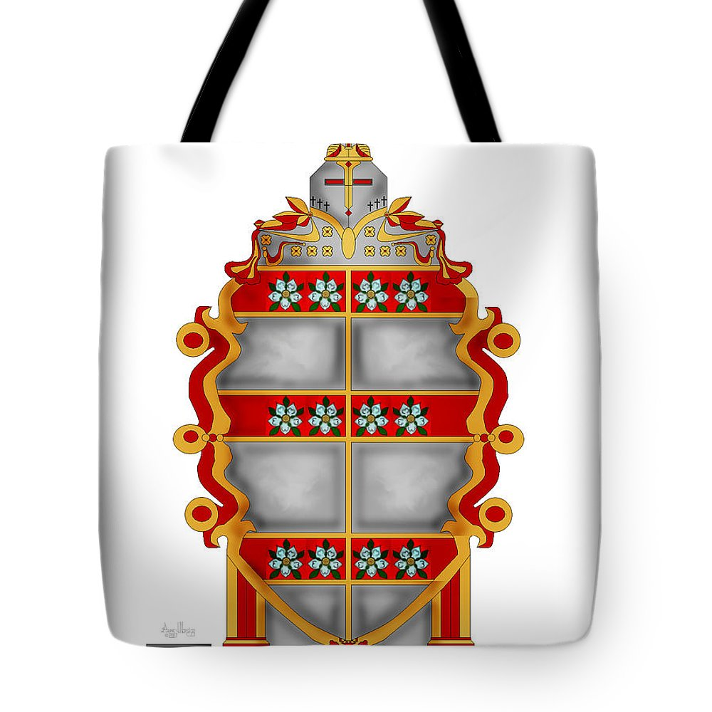 Coat Of Arms Tote Bag featuring the painting Storm Family Crest by Anne Norskog