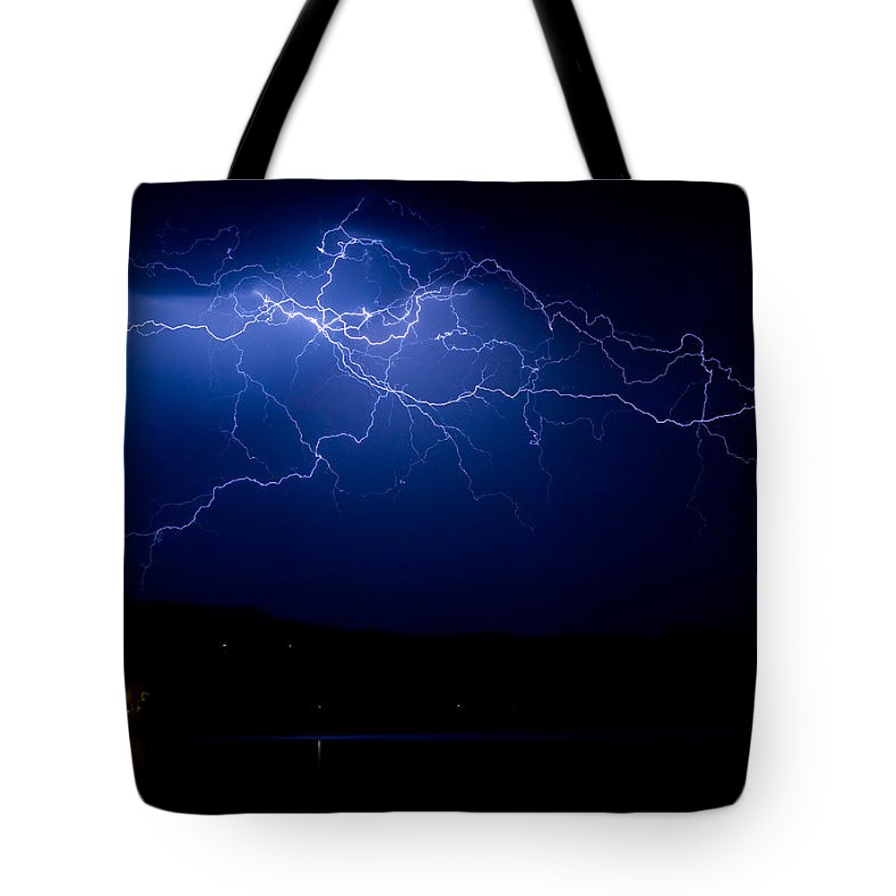 Lightning Tote Bag featuring the photograph Storm Front by James BO Insogna