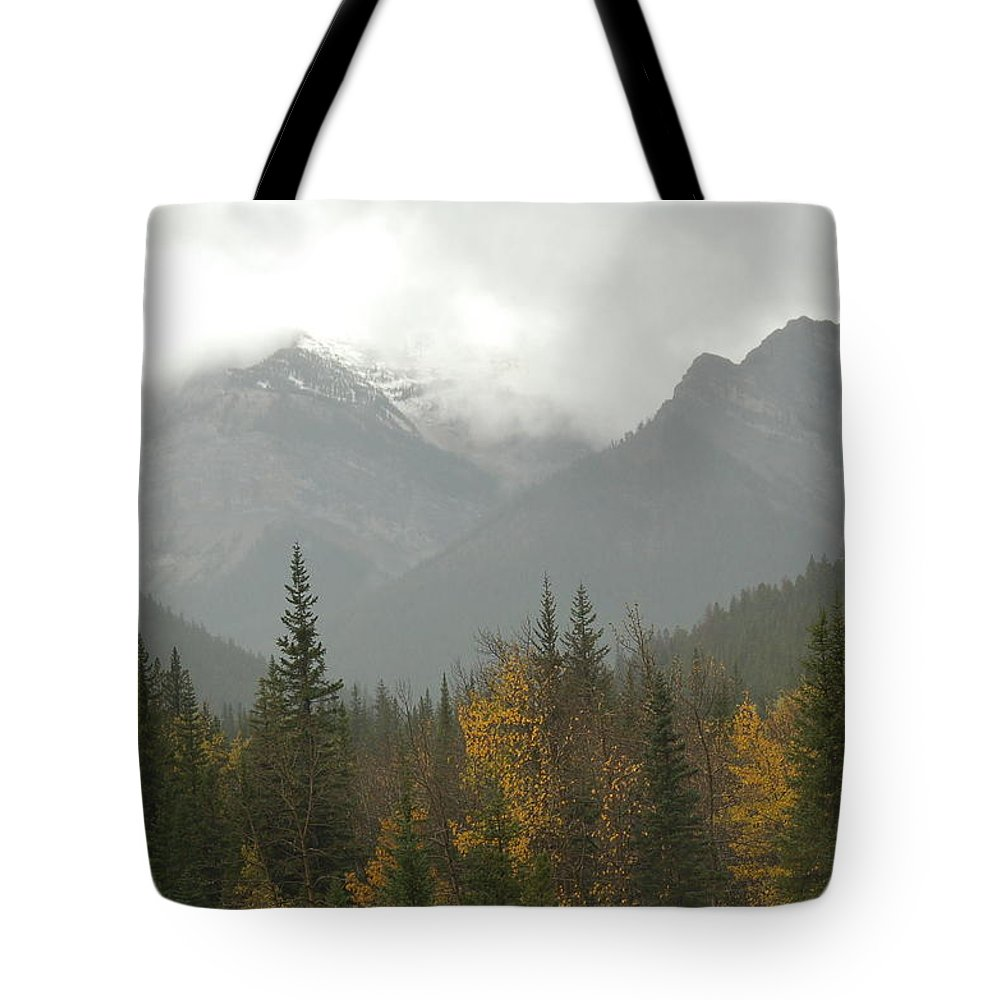 Misty Tote Bag featuring the photograph Storm In The Mountains by D Nigon