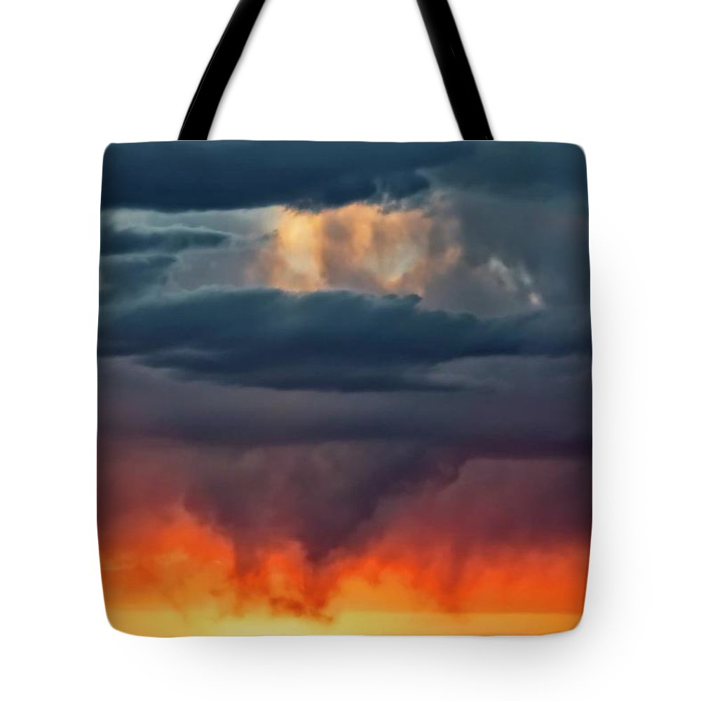 Nature Tote Bag featuring the photograph Storm Light Beam, Albuquerque, New Mexico by Zayne Diamond Photographic