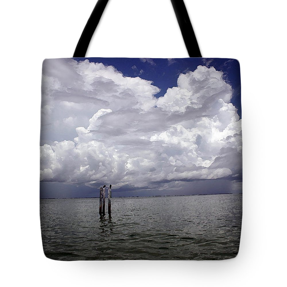 Storm Tote Bag featuring the photograph Storm On The Horizon by Mary Haber