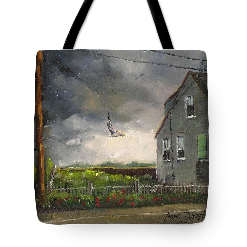 Painting Tote Bag featuring the painting Storm Over Hull Jr by Laura Lee Zanghetti