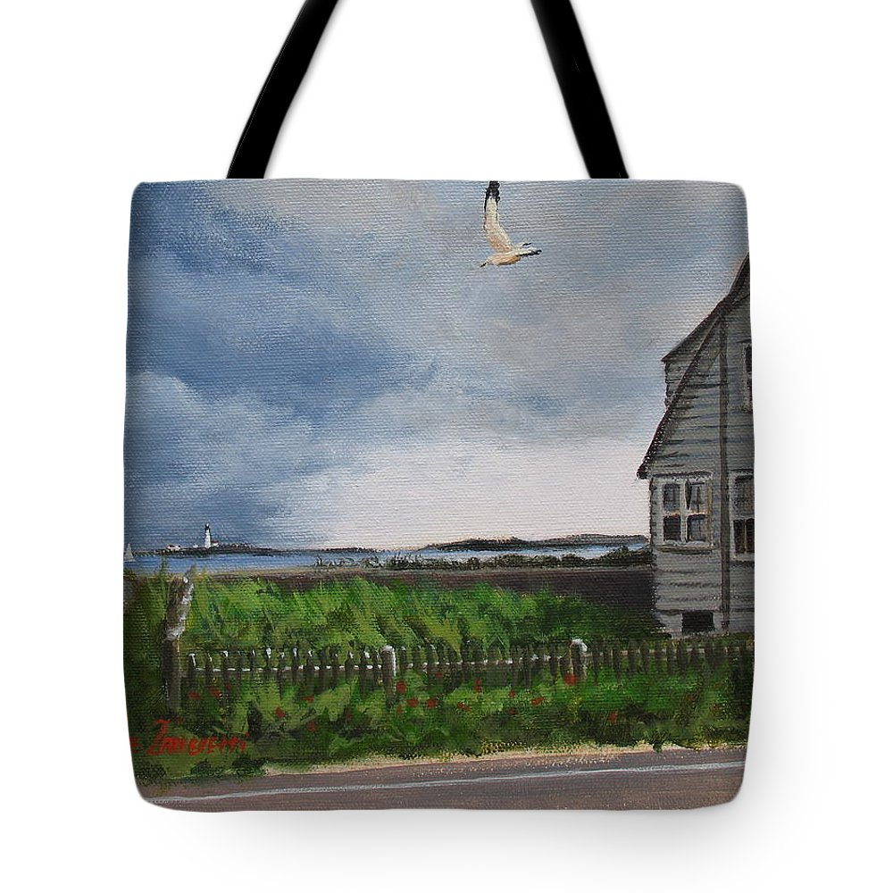 Seascape Tote Bag featuring the painting Storm Over Hull by Laura Lee Zanghetti