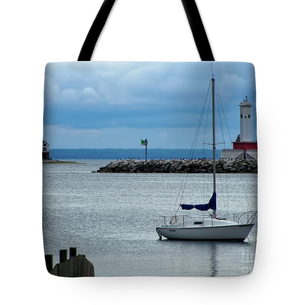 Boat Tote Bag featuring the photograph Storm Over Mackinac by Pamela Baker