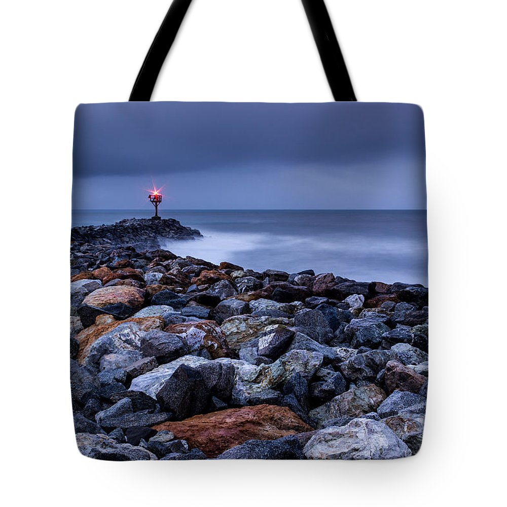 Storm Tote Bag featuring the photograph Storm Over The Jetty 2 by Joe Azevedo