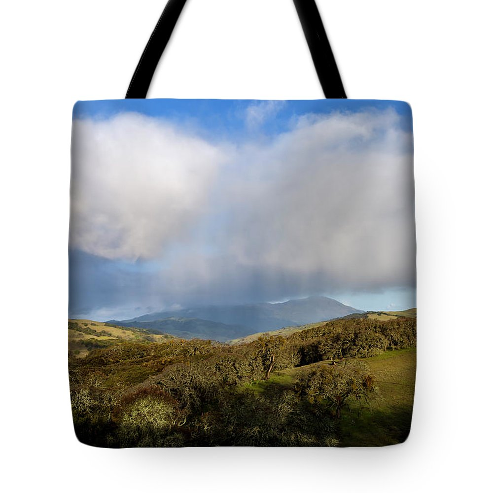 Morgan Territory Regional Preserve Tote Bag featuring the photograph Storm Passing Over Morgan Territory by Rick Pisio