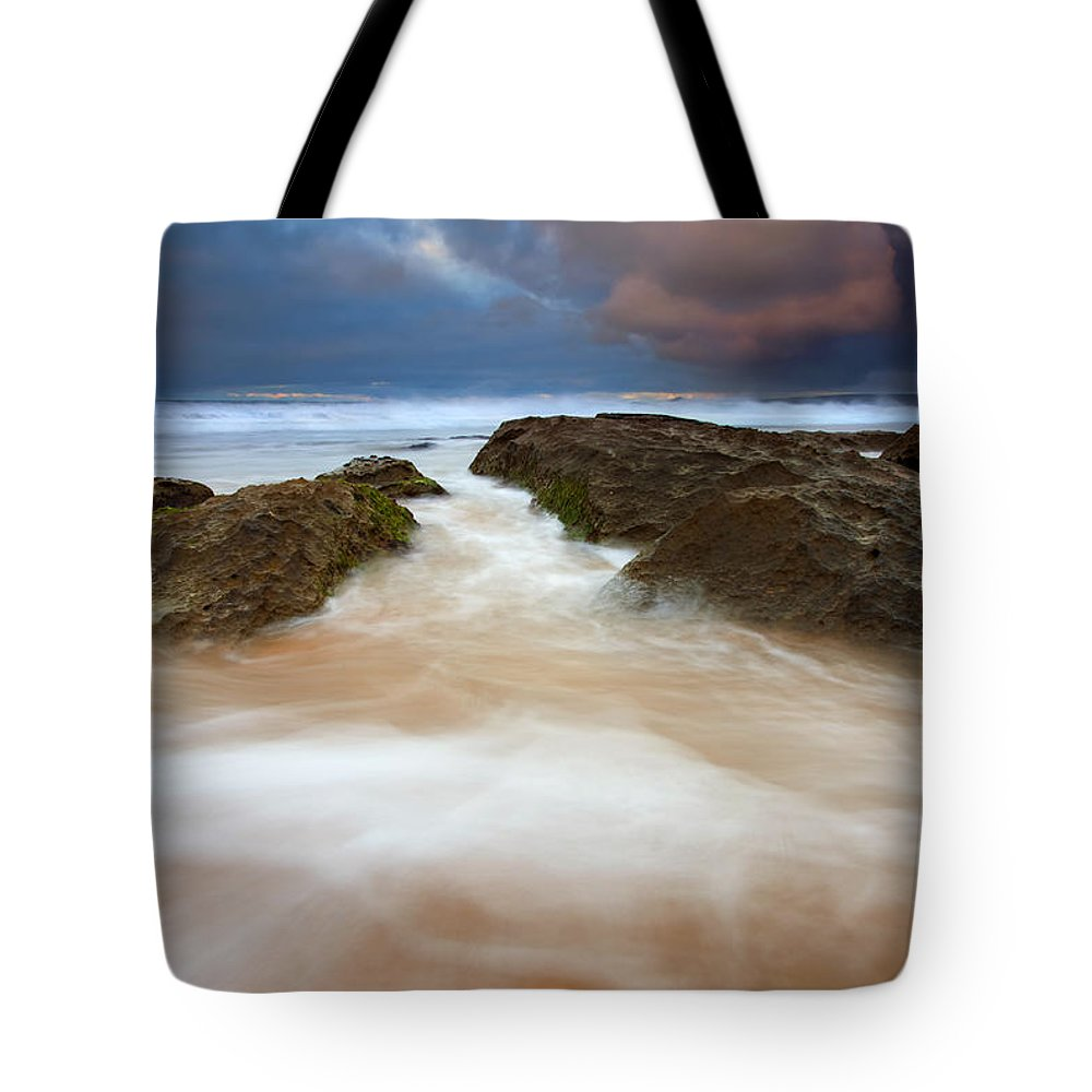 Seascape Tote Bag featuring the photograph Storm Shadow by Mike Dawson