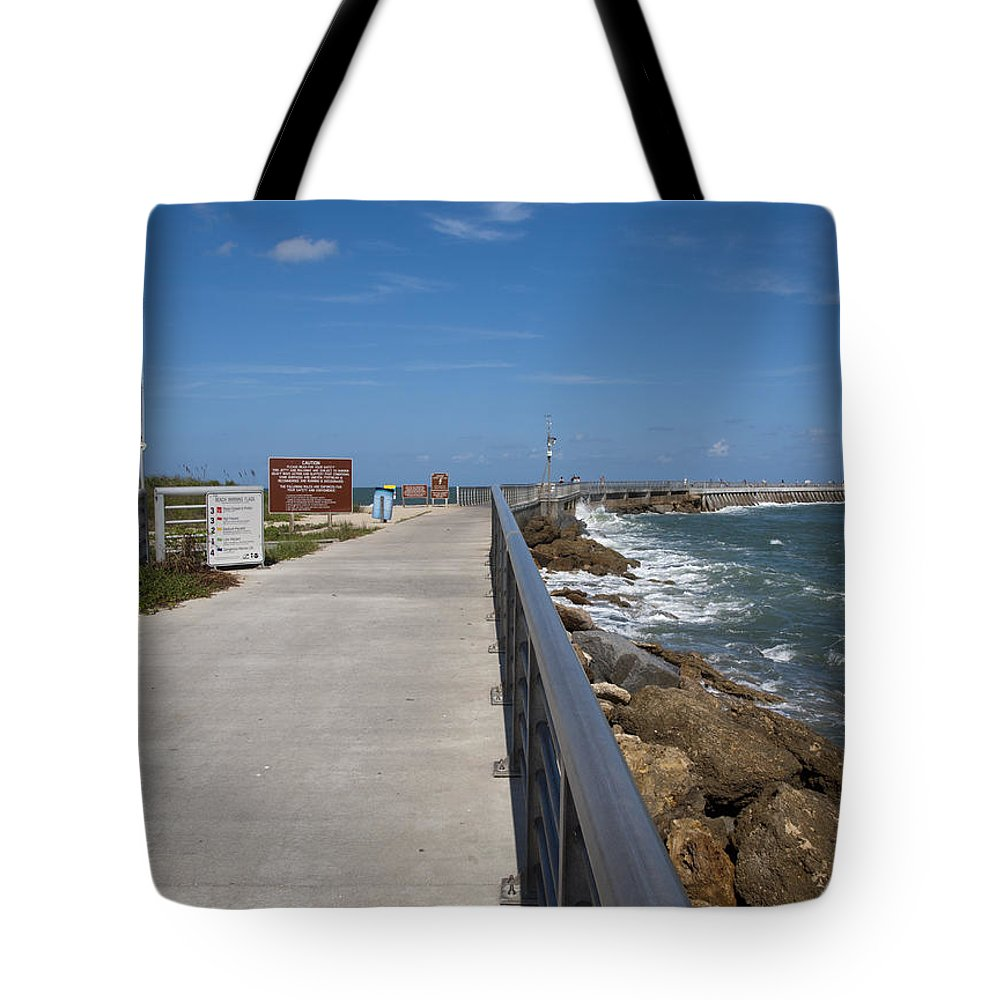 Storm Tote Bag featuring the photograph Storm Warning On The Atlantic Ocean In Florida by Allan Hughes