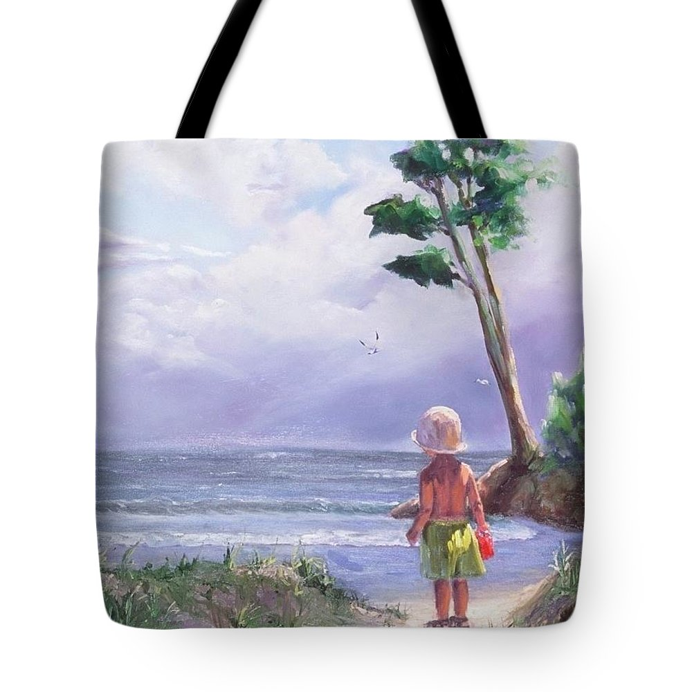 Seascape Tote Bag featuring the painting Storm Watching by Laura Lee Zanghetti