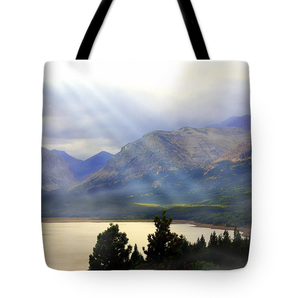 Glacier National Park Tote Bag featuring the photograph Storms A Coming-lower Two Medicine Lake by Marty Koch