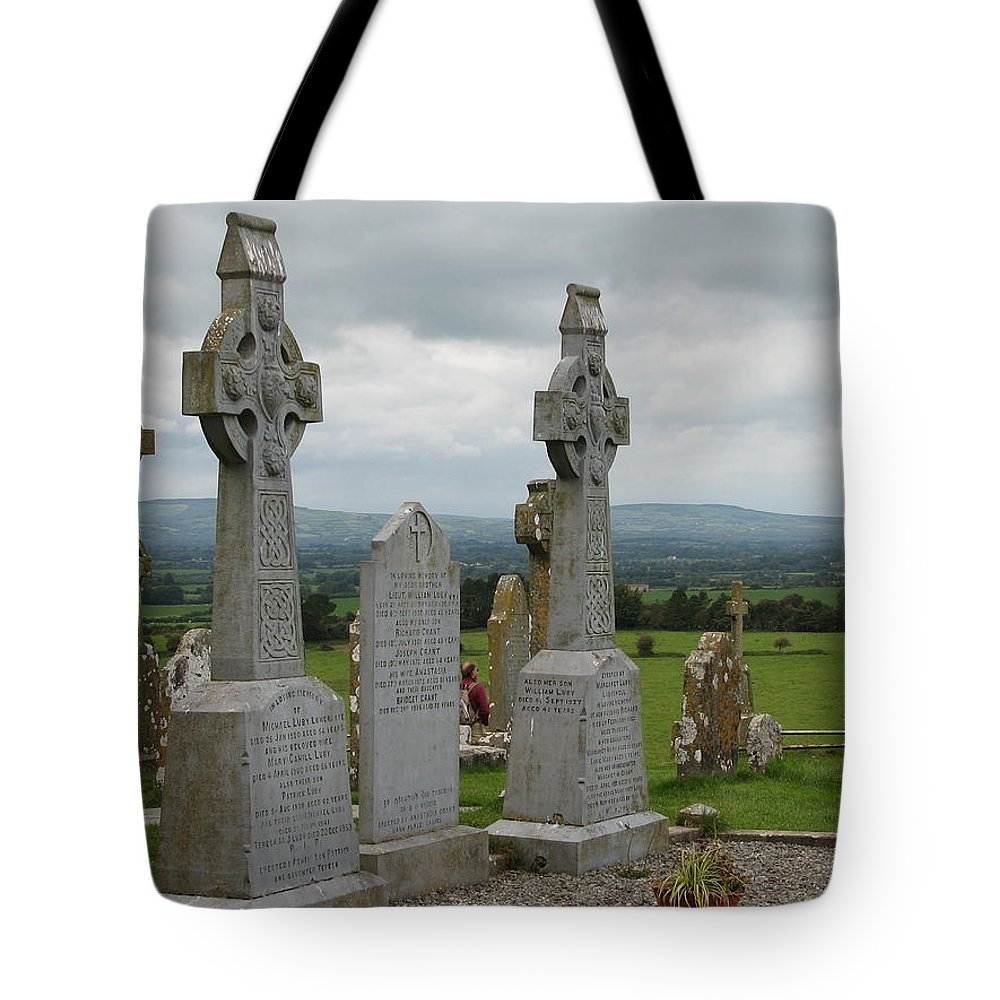 Celtic Cross Tote Bag featuring the photograph Storms Comming by Kelly Mezzapelle