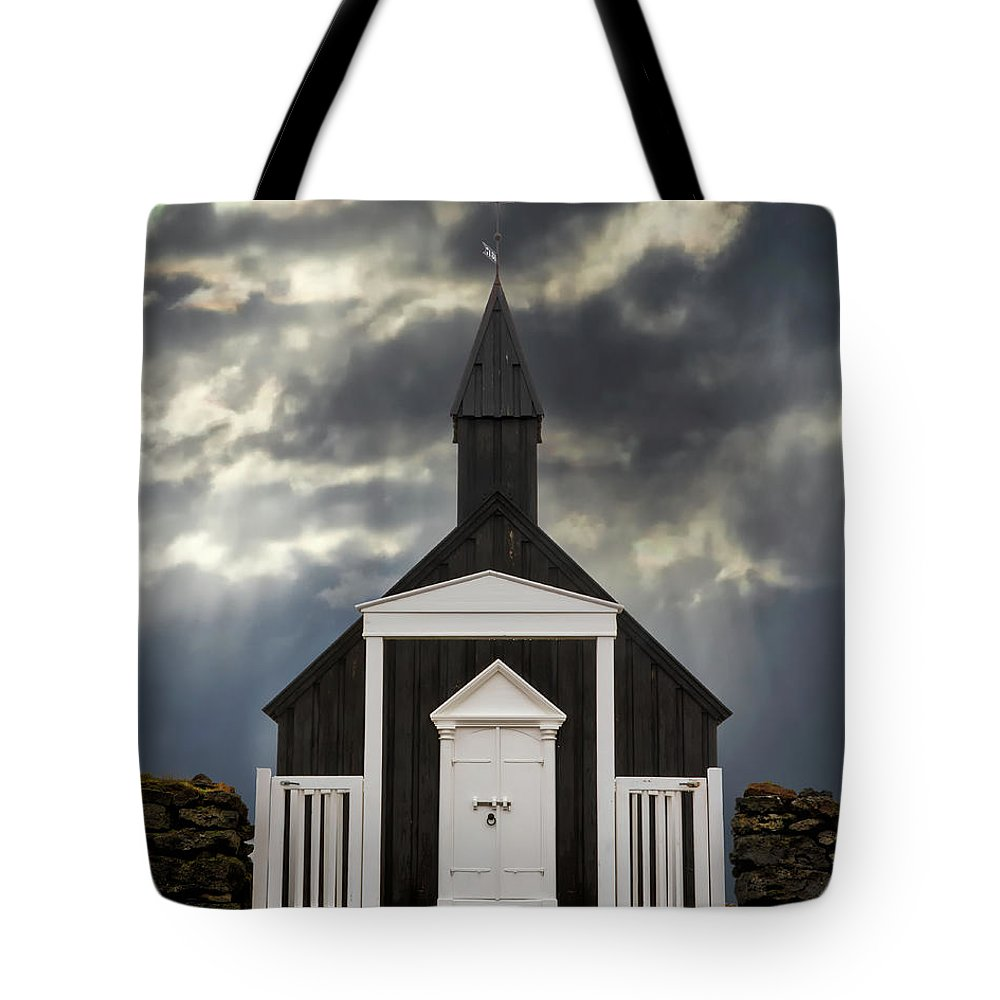 Architecture Tote Bag featuring the photograph Stormy Day At The Black Church by Jerry Fornarotto