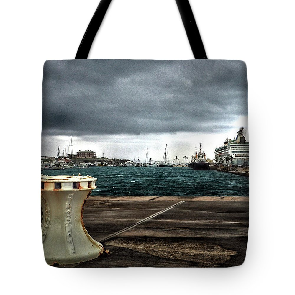 Bermuda Tote Bag featuring the photograph Stormy Harbor Kings Wharf Bermuda by Bill Swartwout Fine Art Photography