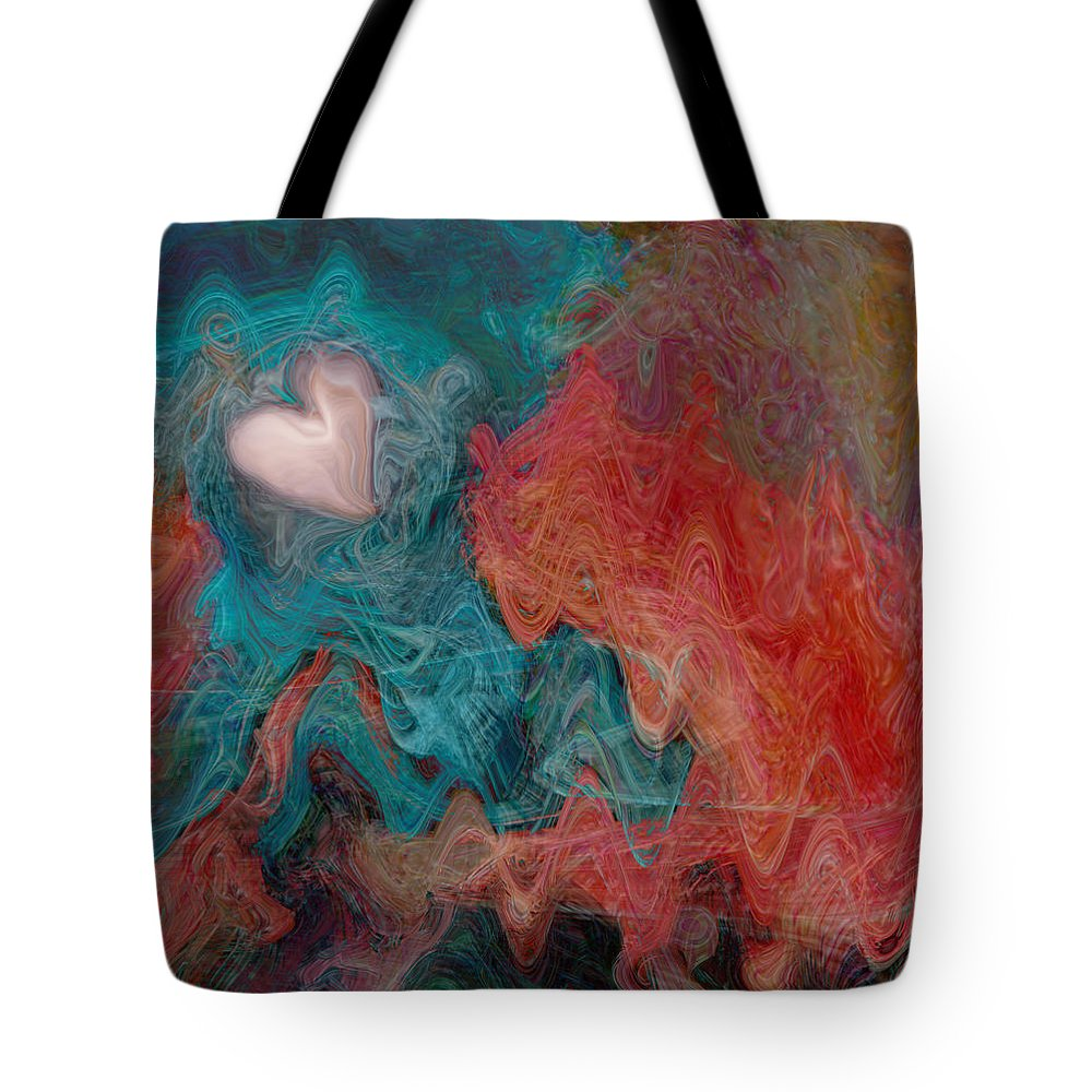 Hearts Tote Bag featuring the digital art Stormy Love by Linda Sannuti