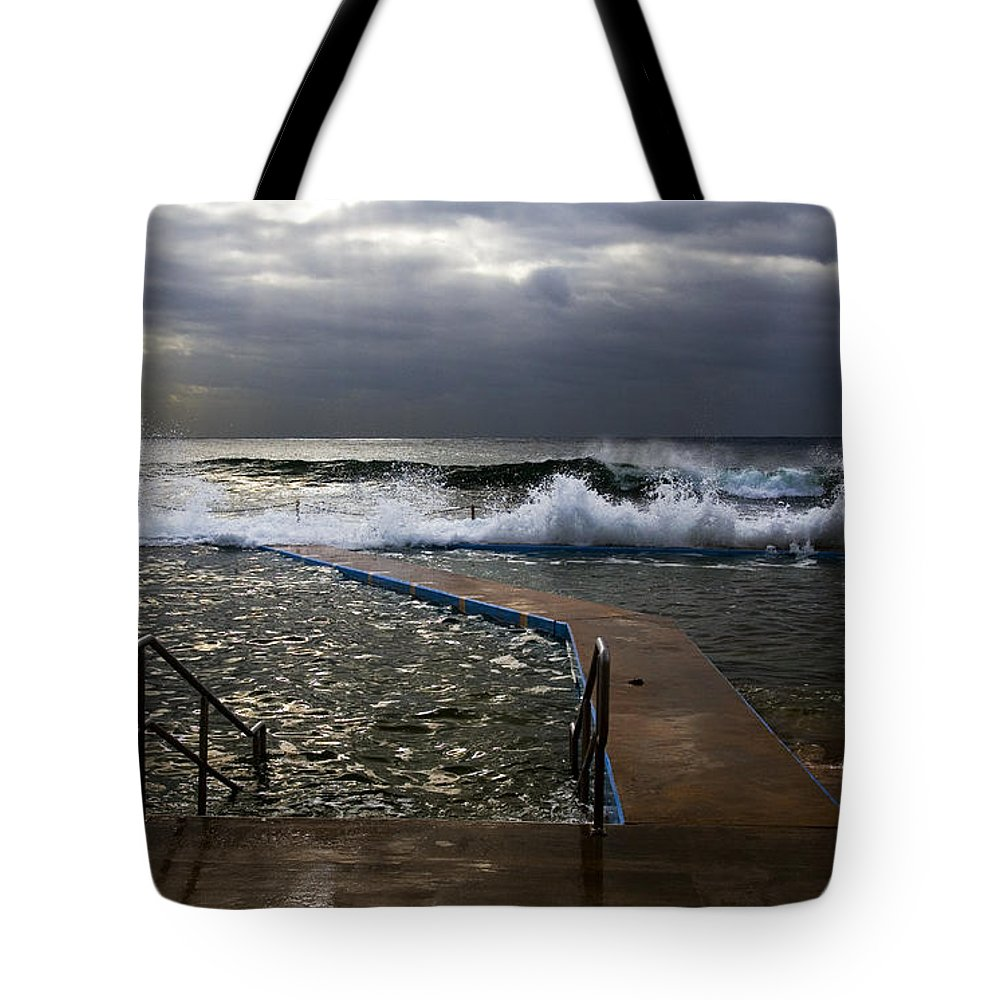 Storm Clouds Collaroy Beach Australia Tote Bag featuring the photograph Stormy Morning At Collaroy by Sheila Smart Fine Art Photography