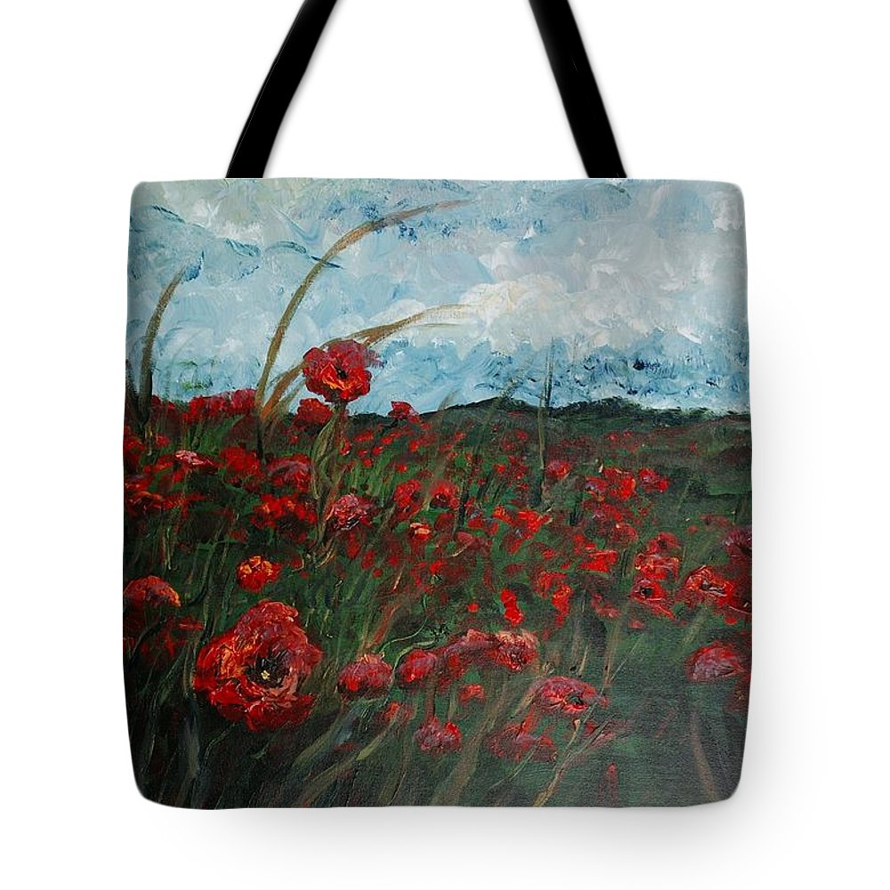 Poppies Tote Bag featuring the painting Stormy Poppies by Nadine Rippelmeyer