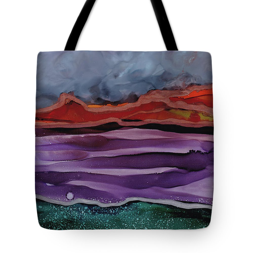 Gray Tote Bag featuring the painting Stormy Sky by Jean Marie Economen