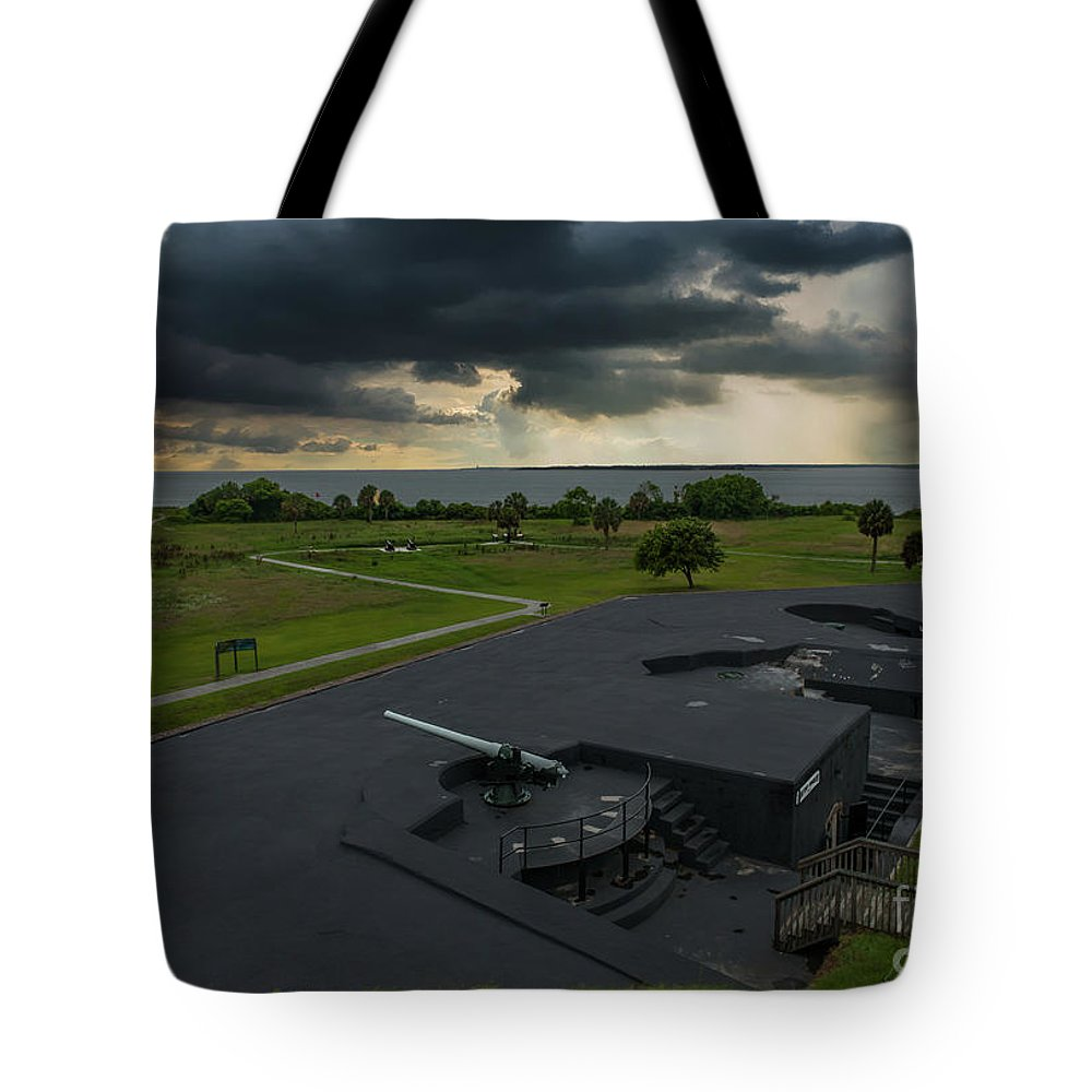 Fort Moultrie Tote Bag featuring the photograph Stormy Sky Over Fort Moultrie by Dale Powell