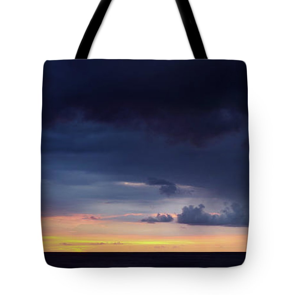 Hawaii Tote Bag featuring the photograph Stormy Sunset by Christopher Johnson