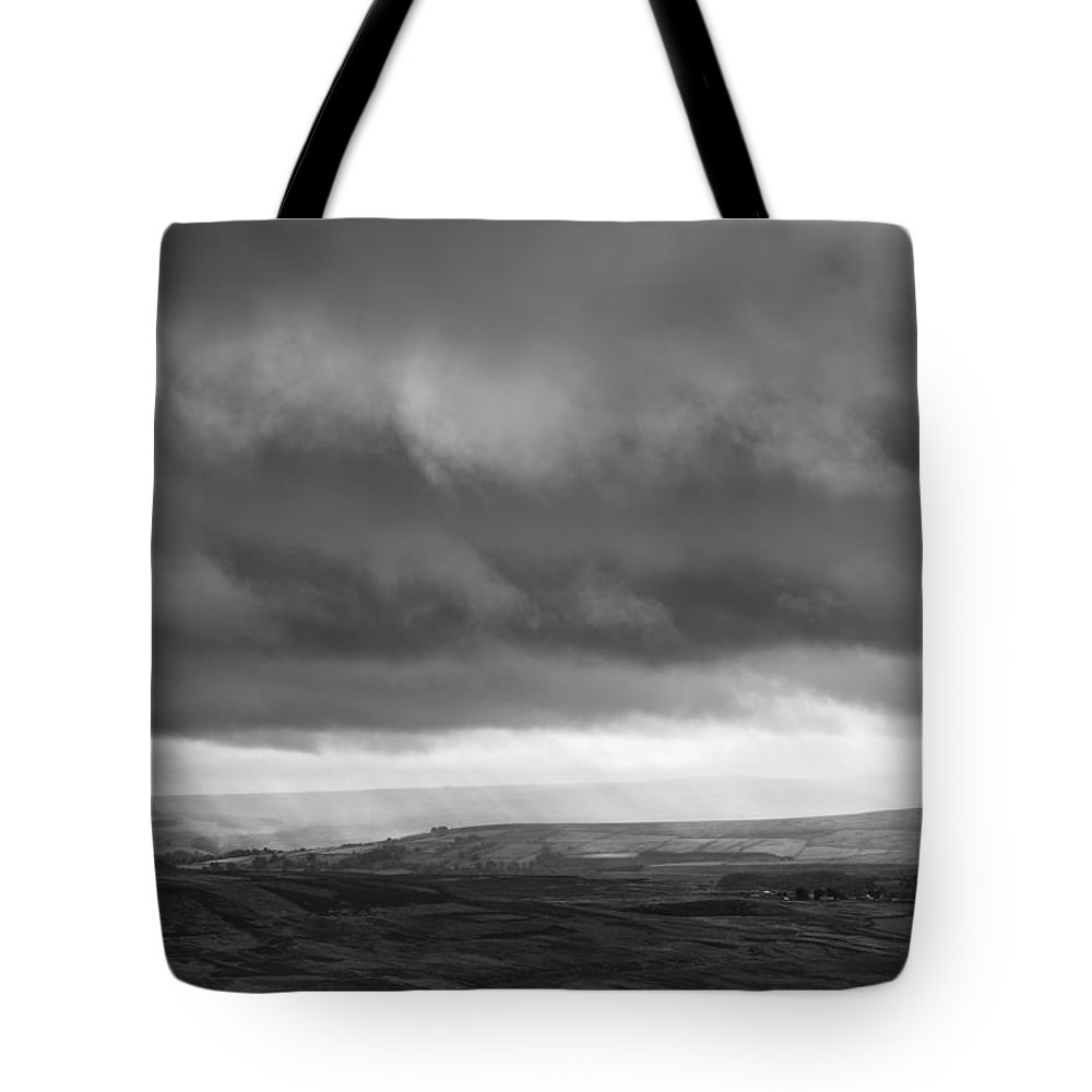 B&w Tote Bag featuring the photograph Stormy Weardale by David Taylor