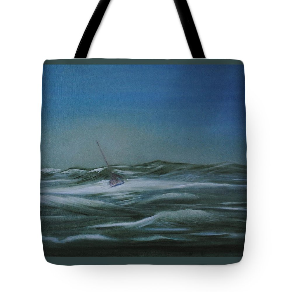 Seascape Tote Bag featuring the painting Stormy Weather by Fiona Dinali