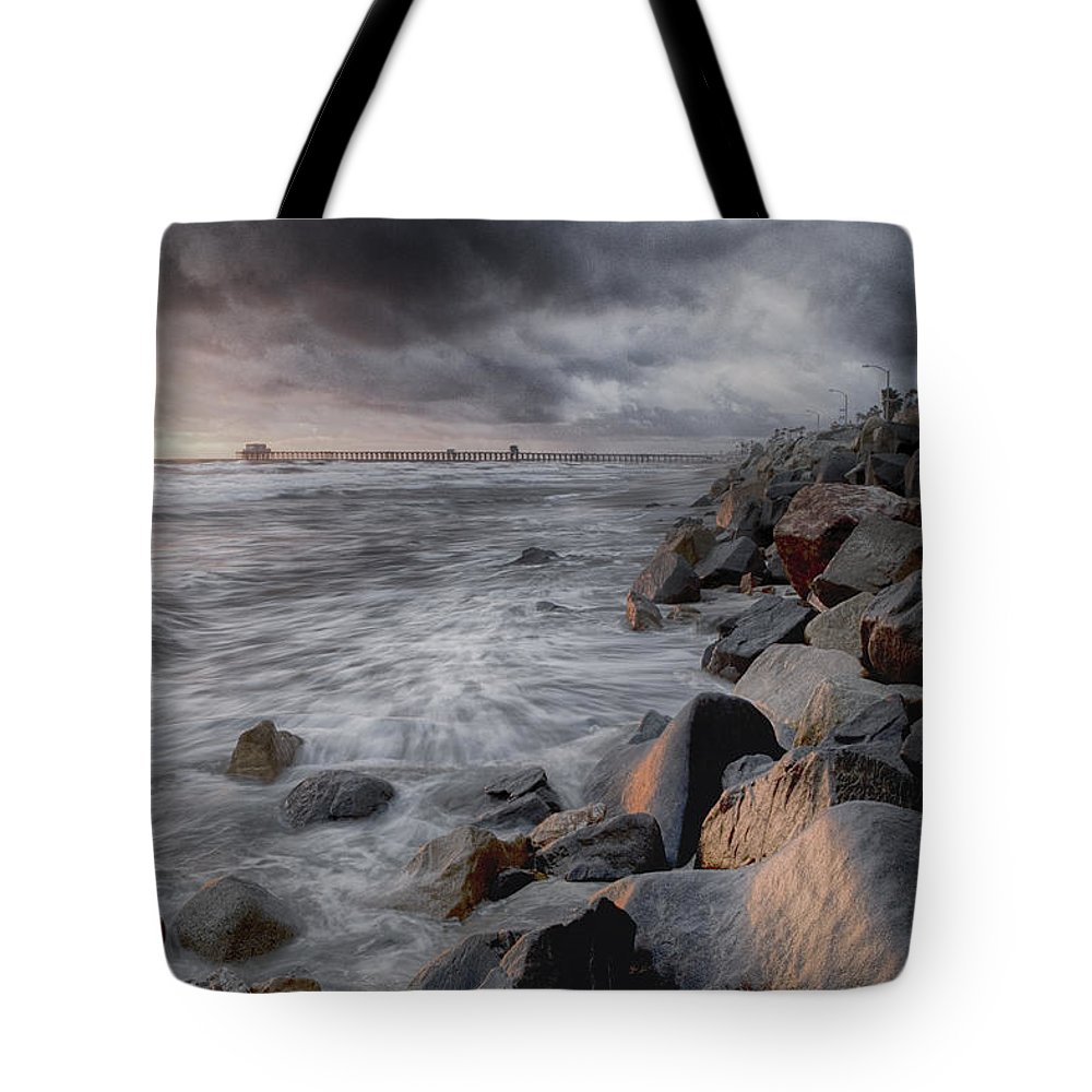 Oceanside Tote Bag featuring the photograph Stormy Weather by Nicole Swanger