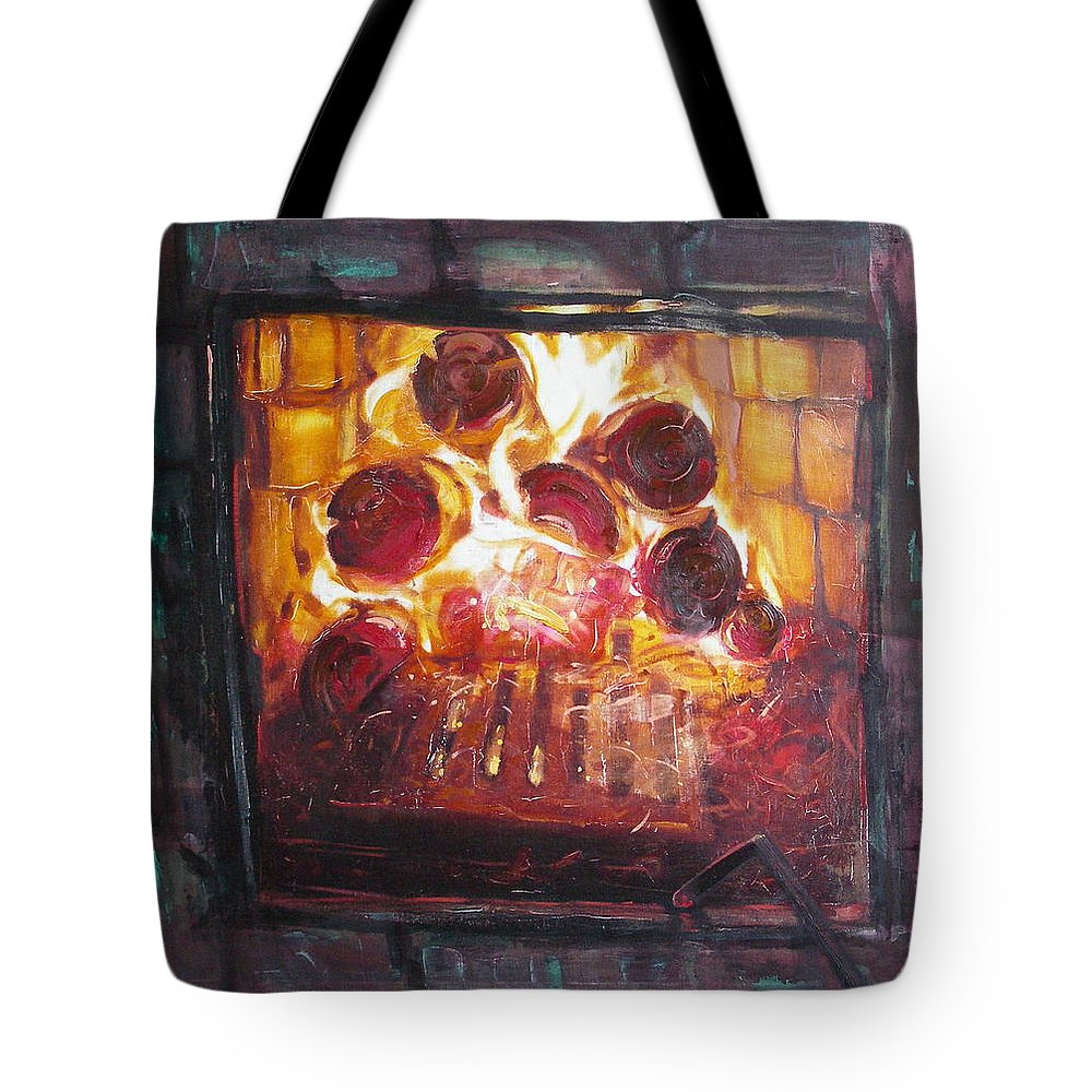 Oil Tote Bag featuring the painting Stove by Sergey Ignatenko