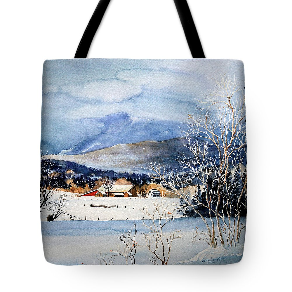 Stowe Valley Farm Painting Tote Bag featuring the painting Stowe Valley Farm by Hanne Lore Koehler