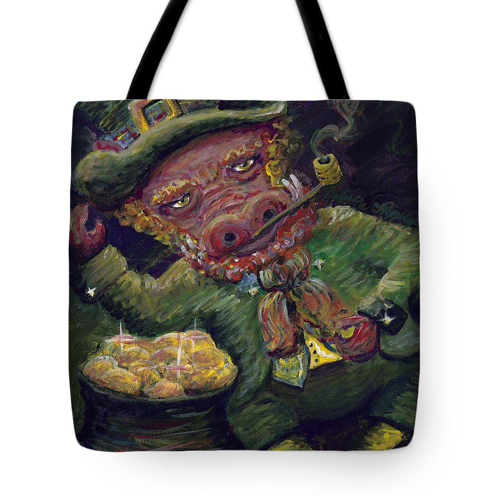 Hog Tote Bag featuring the painting St.patricks Day Pig by Nadine Rippelmeyer