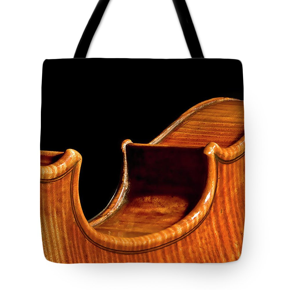Purfling Tote Bag featuring the photograph Stradivarius Back Corner by Endre Balogh