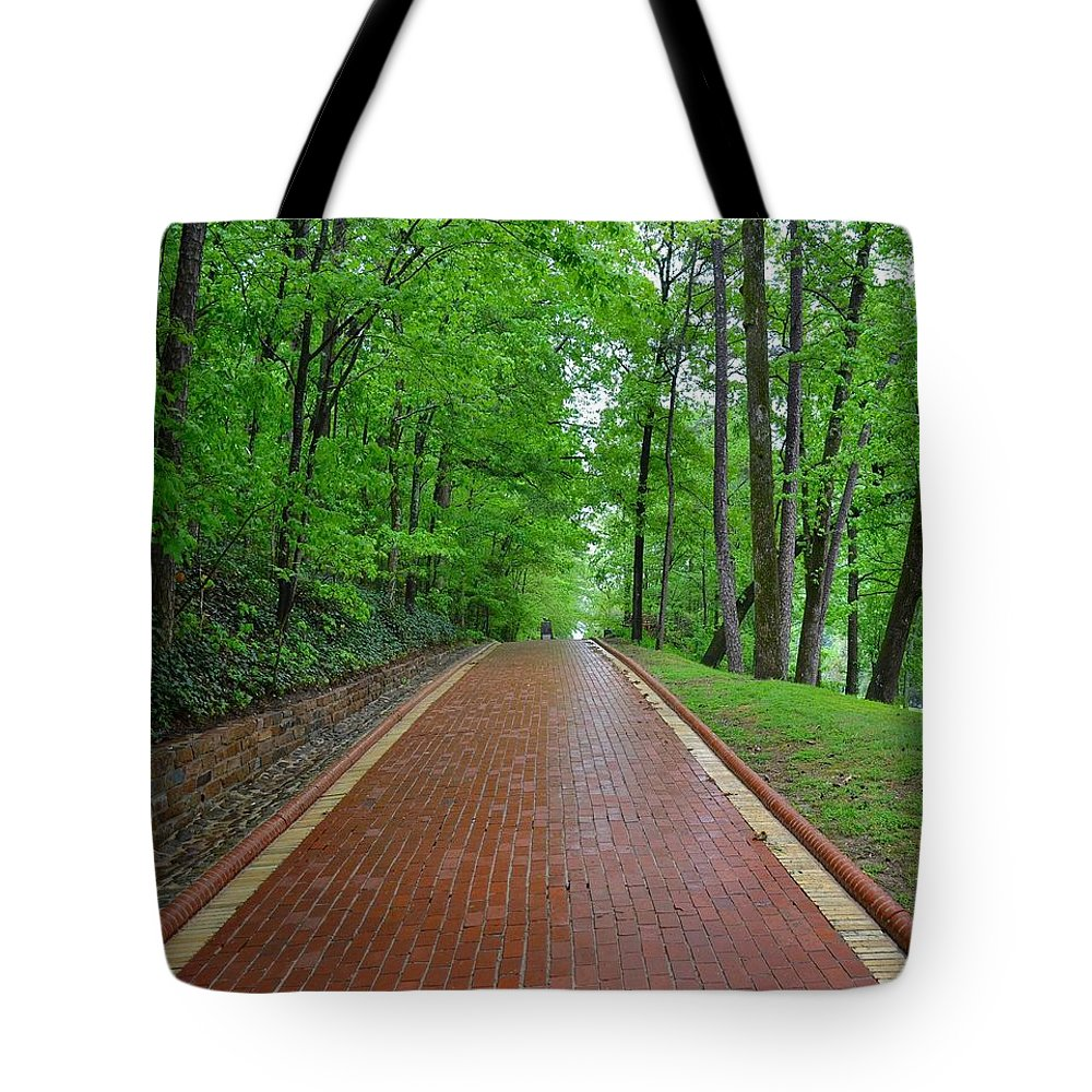 Brick Tote Bag featuring the photograph Straight And Narrow by William Encino