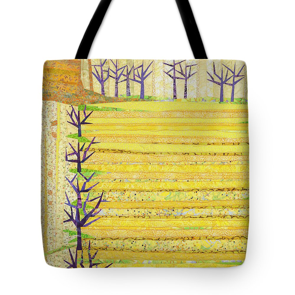 Landscape Tote Bag featuring the tapestry - textile Straight Furrows by Linda Beach