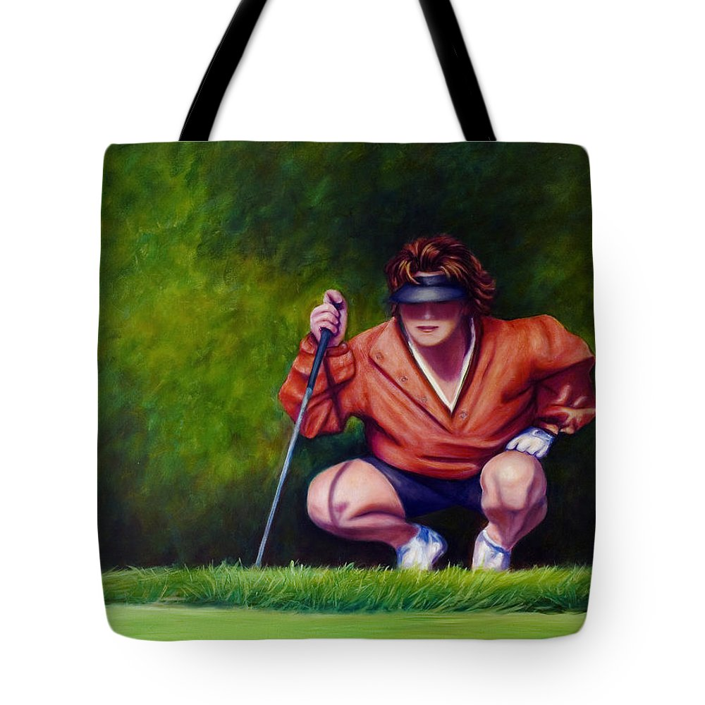 Golfer Tote Bag featuring the painting Straightshot by Shannon Grissom