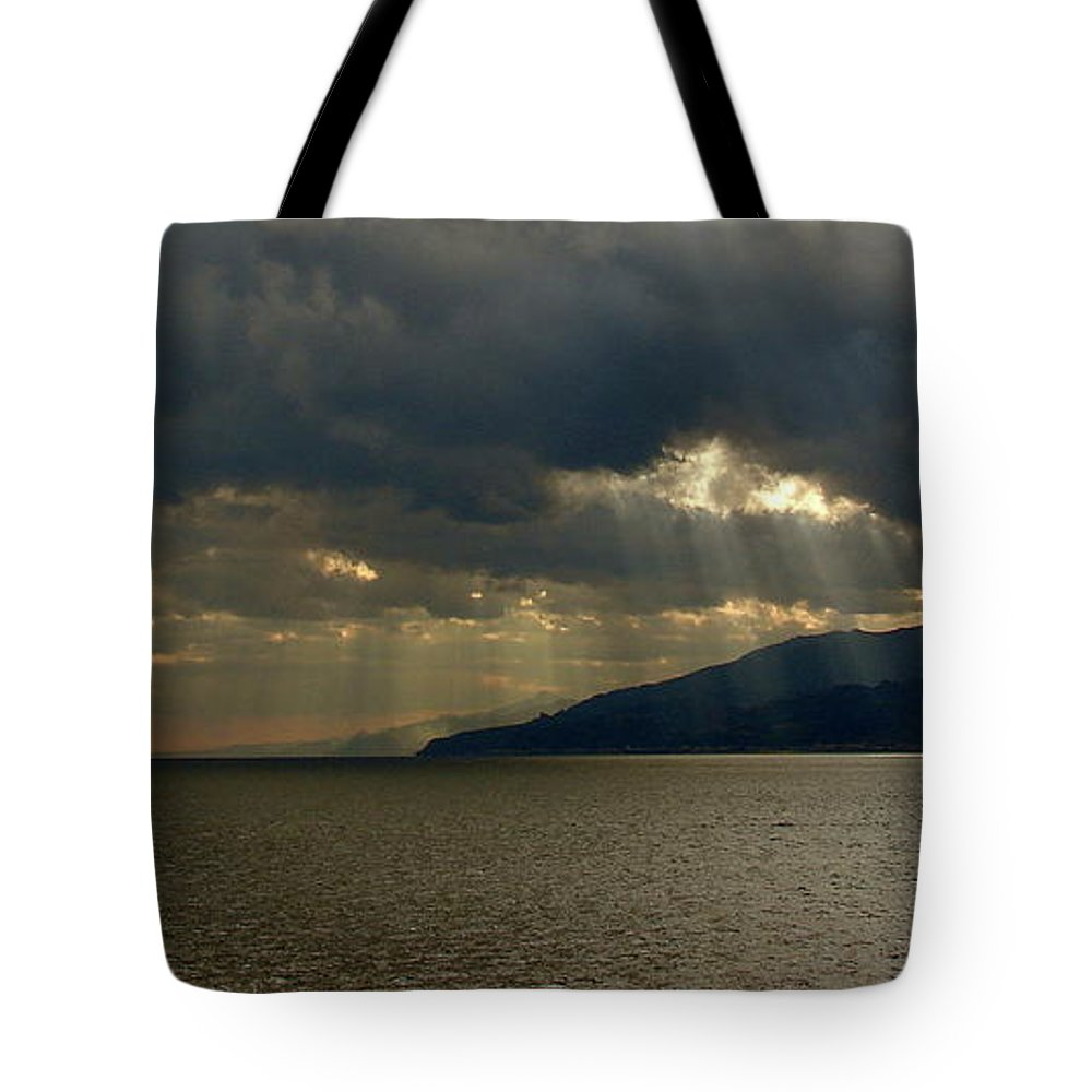 Strait Of Messina Tote Bag featuring the photograph Strait Of Messina I by Brett Winn