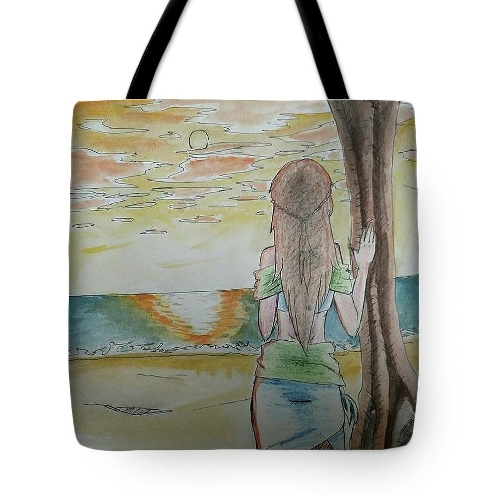 Island Tote Bag featuring the painting Stranded by Lauren Champion