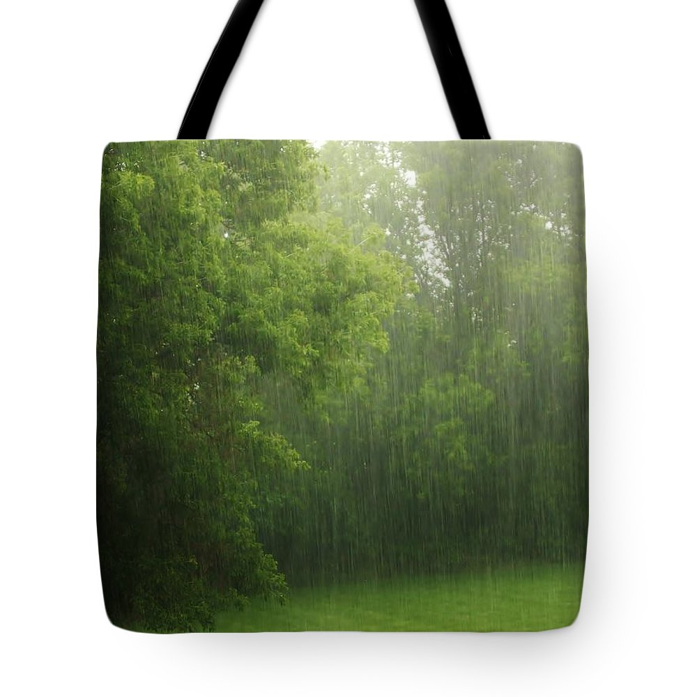 Rain Tote Bag featuring the photograph Strands Of Rain by Denise Irving