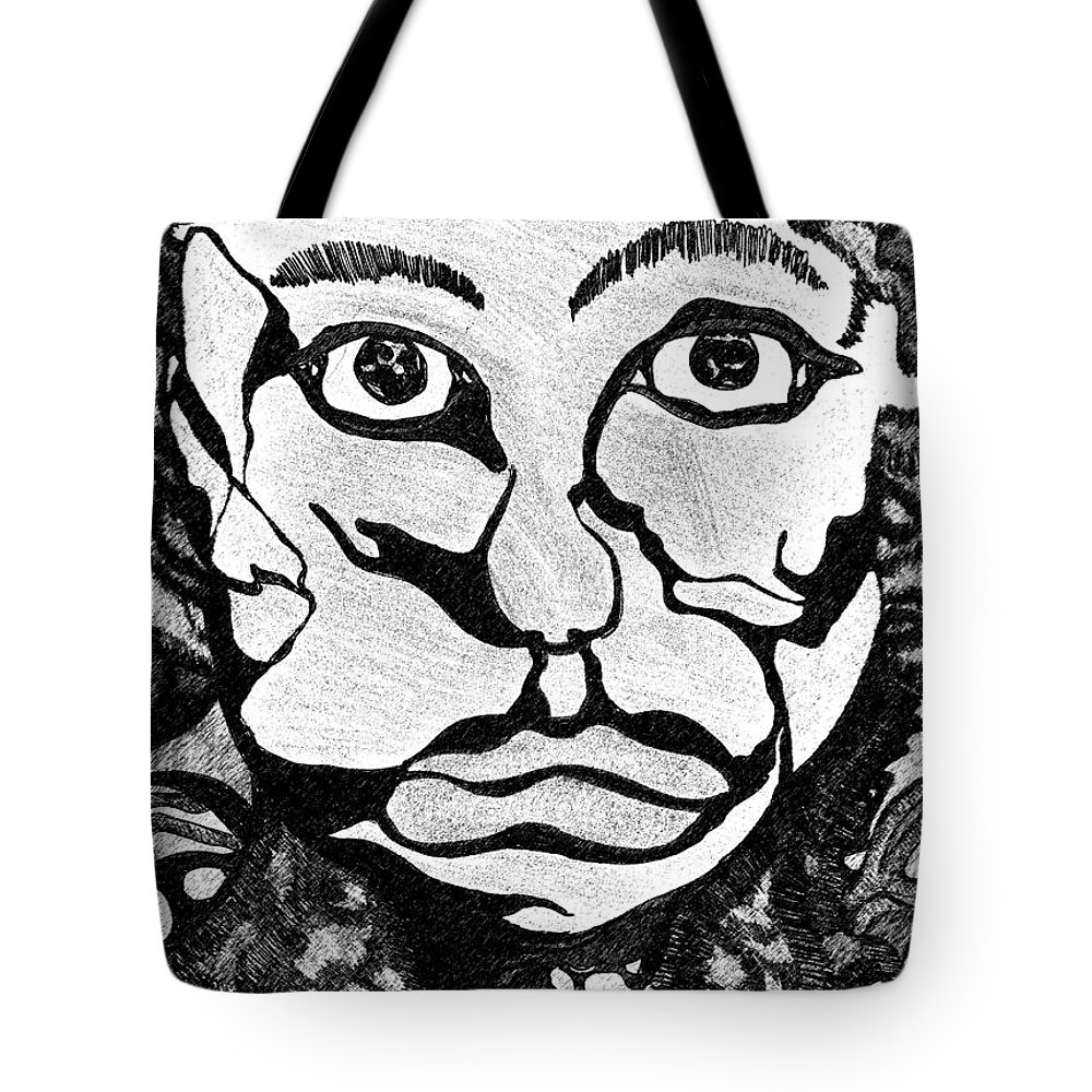 Abstract Tote Bag featuring the drawing Strange Man by Jessica Morgan