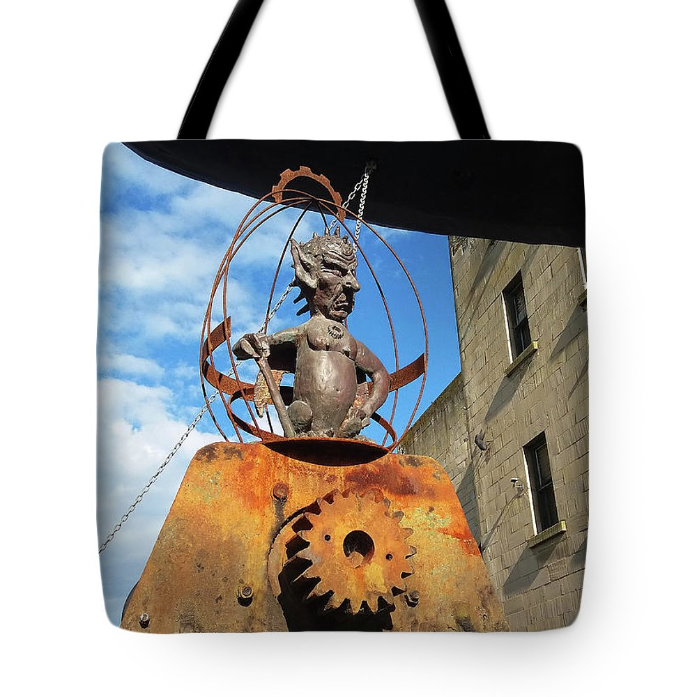 Demonic Tote Bag featuring the photograph Strange Steam Punk Demonic Figure by Nareeta Martin