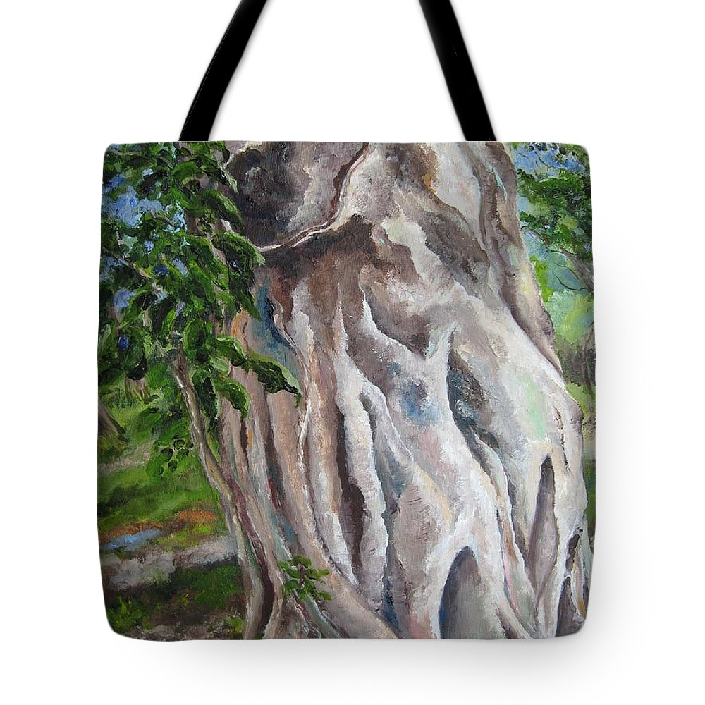 Landscape Tote Bag featuring the painting Strangler Fig by Lisa Boyd